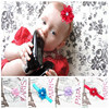 Factory Direct Kids Fabric Rhinestone Centered Flower Elastic hairbands, Boutique Newborn Infant Headband wholesale