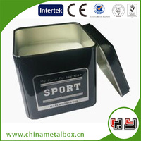 Custom Printed Metal Small food grade boxes with clear lid tin containers