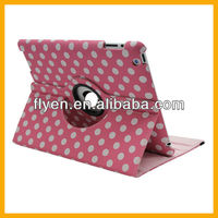 Round Spot&Polka-dot Pattern Magnetic Swivel Rotating 360 Leather Case for iPad 2 3 4 Smart Cover Function New Design