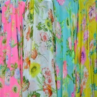 Polyester flower printed plain pure georgette chiffon silk fabric
