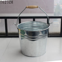 Best selling product zinc water bucket with wooden handle