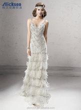 2014 Newest Design V Neck Floor Length Winter Wedding Dresses Fur