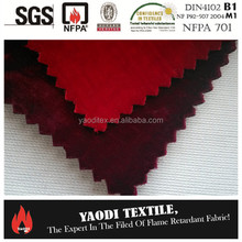 Luxury 100% polyester fire resistant heavy velvet curtain/stage velvet curtain fabric