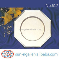 Fashionable decorative plain polish iron chrome nickel brass silver plated octagon charger plate for meal elegant dinner