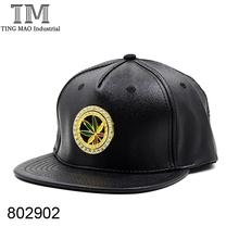 High quality hiphop hats , PU plain black leather hiphop caps