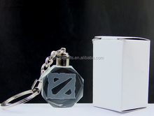 acrylic crystal Dota 2 Led flash light keychains in white paper box
