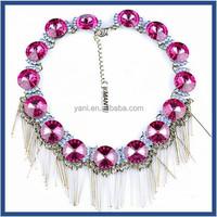 Unique Style Good Market Women Popular dubai jewellery modern purple crystal zinc alloy statement necklace