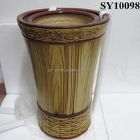 Ceramic wooden color plant pot