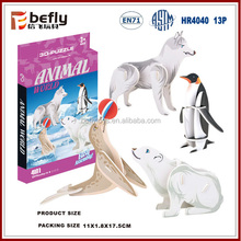 4 kinds Arctic animals paper puzzle 3d educational puzzle games