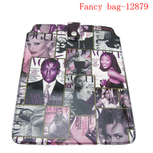 Hot selling fashion newspaper digital printed pu laptop bag with button
