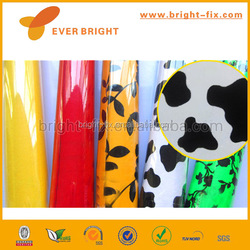 Fashion design color PVC self adhesive vinyl film, high glossy color decorative film, environmental pvc cpp self adhesive foil