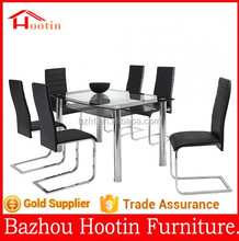 2015 high quality glass top and metal legs two layers dining table and chairs for home furniture