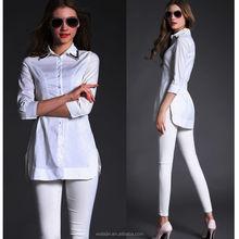 Beaded neck 3/4 sleeve elastic back waist plain white cotton office blouse fashion vented shirt