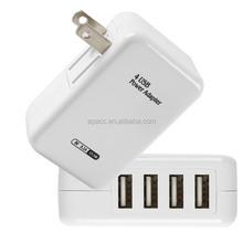 5V 3.1A travel charger 4 port usb hub female usb hub wall plate