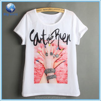 Fashion woman's sublimation t-shirt/plain white sublimation t-shirt printing/100% plpyester t-shirt wholesale