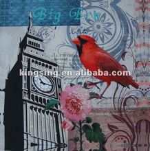 Building with bird image printed on canvas