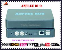 wholesale mini hd twin tuner dvb s2 with 3g wifi iptv iks sks free satellite receiver azfree duo
