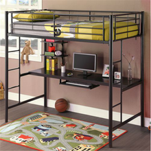 modern premium black metal twin loft bed over workstation