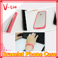 Pretty cheap creative hair rope/silicone bracelet mobile phone cover for nokia c7