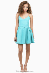 2015 Summer Fashion Sexy Women Mint Latest Completely Backless Dress