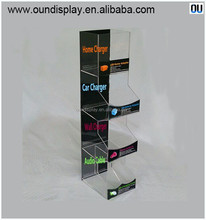 acrylic micro high speed dual USB charger counter display for cellphone