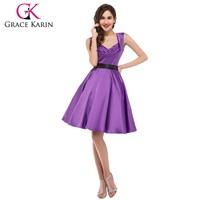 Grace Karin 2015 Sleeveless V-Neck Red Satin 50s Style Purple Rockabilly Dress CL006030-5