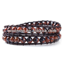 2014 Popular Leather Wrap Around Bead Stone Bracelet Making
