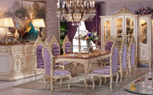 Luxury Dining Table, Antique European Italian Style Dining Room Furniture, Wooden Dining Table with 10 Chairs