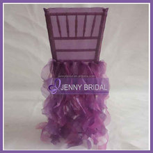 C009AB purple organza wedding ruffled chair cover