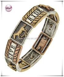 Burnished Tri-tone / Lead&nickel Compliant / Metal / Animal / Horse & Message / Western Theme / Stretch / Bracelet