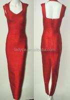 unique design long dresses high slit plus size bandage v neck dress