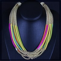 Latest most popular handmade european style hippie color jewelry chain necklace small quantity order