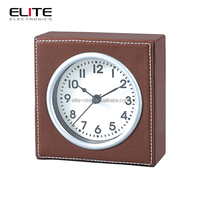 New quartz plastic table clock with leather wrapped case