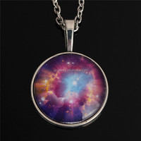 2015 New Arrivals Pendant Necklaces Glass Cabochon Chain Milky Way Nebula Space Antique Silver Plated moon Jewelry