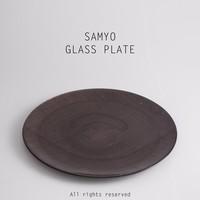 "samyo glassware 13"" brown color Linen pattern glass dinner charger plate set"