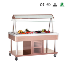2015 New model good quality R134/R404 color 304 stainless steel salad bar display
