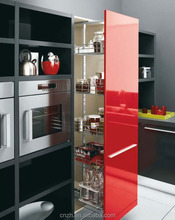 Competitive Price 2015 high glossy Red color Laquer Finished MDF modern kitchen cabinets