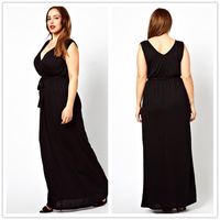 Simple Black Sexy V-Neck Zipper Back A Line Women Long Formal Chiffon Skirt Cocktail Party Dresses For Fat Girls (AB0298)