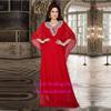 2015 Muslim Dresses Abaya Kaftan in Dubai Scoop Three Quarter Sleeve Long Chiffon Evening Prom Dress