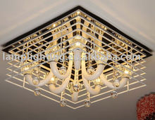 Square rail crystal ceiling lamp for hotel project and home decoration