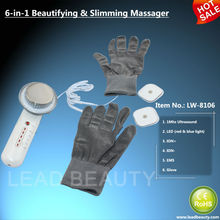 Ultrasonic beauty machine with ion & EMS and photon functions and magic beauty gloves for body slimming