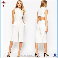 Cut out Nice Jumpsuit with Culotte and Shirt Detail/jumpsuit with zip front