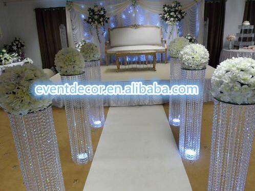 colonnes de cristal de mariage pour la d coration de mariage grand cercle cristal suspendus. Black Bedroom Furniture Sets. Home Design Ideas