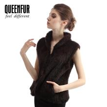 New Genuine Mink Fur Vest Fashion Women Fashion Knitted Mink Fur Gilet Winter Natural Mink Waistcoats