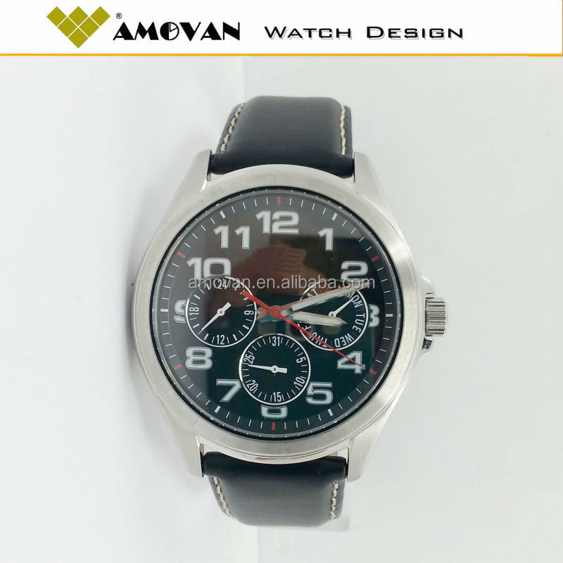 Stainless Steel Case Leather Strap Wrist Watches For Men
