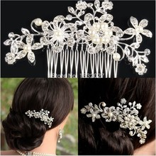 Customize fashion silver plated alloy rhinestone artifical pearl flower wedding bridal elegant hair pin women accessories