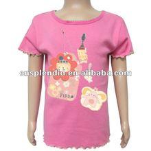 custom design pink short sleeve fashion girls tshirt