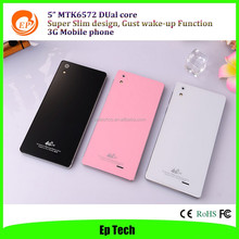 "Big screen and super slim design 5"" 3G Mobile phone MTK6572 dual core android 4.4 smart Phone ---T2"