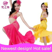 Newest arrival hot sexy beaded tassel children girls belly dance costume with size S M L ET-055