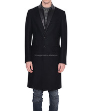 man single-breasted wool and leather coat